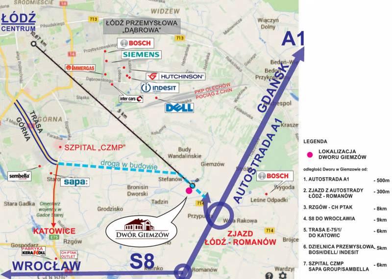 mapa hotel przy autostradzie a1